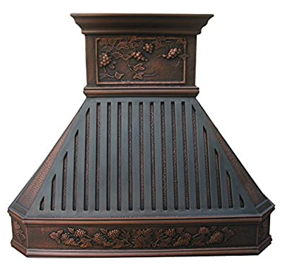 Sinda H14BTRA Copper Kitchen Oven Hood with Range Hood Insert Antique Copper Patina and Oil Rubbed Bronze Decorative Bars