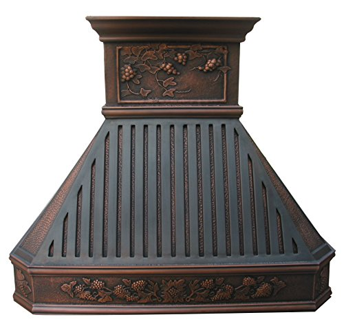 Downdraft Steel Ventilation Stainless (Sinda H14BTRA Copper Kitchen Oven Hood with Range Hood Insert Antique Copper Patina and Oil Rubbed Bronze Decorative Bars)