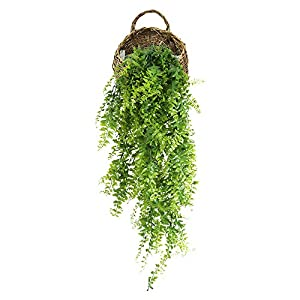 Artificial Hanging Plants,Artificial Plastic Ferns Bush Faux Grass Leaves for Home Garden Office Market Restaurant Wedding Decor by HWKAIZ 76