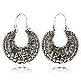 Wowanoo Vintage Round Embossed Dangle Drop Hook Earrings for women