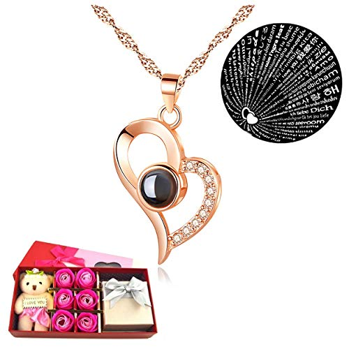 I Love You Necklace 100 Languages Gift Set | Nano Jewelry Projection Necklace | Romantic Gifts for Her (Heart - Rose Gold 18k Plated)