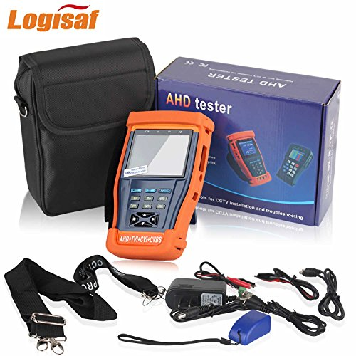 Logisaf 4 in 1 CCTV Tester Video Monitor Tester for AHD TVI CVI CVBS Cameras, 3.5'' LCD Monitor, 12V DC Power Out, PTZ Test, Cable Test, Audio&Video Test Rechargeable Battery by Logisaf