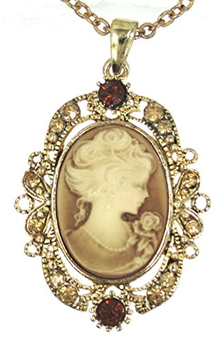 Sparkleshop Elegant Victorian Lady Style Cameo Pendant Necklace Golden (Pendant Lady Necklace Cameo)