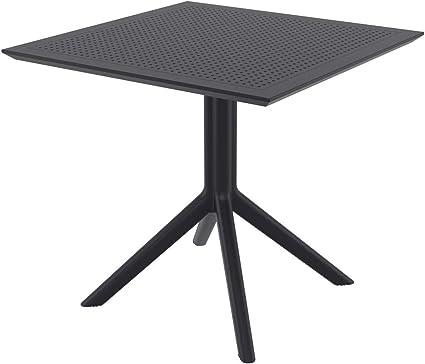 Amazon De Clp Tisch Sky 80 X 80 Cm I Wetterfester Gartentisch Aus Uv Bestandigem Kunststoff I Witterungsbestandiger Tisch Farbe Schwarz