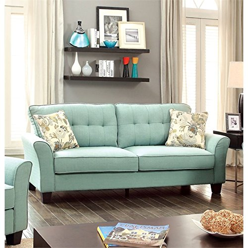 Furniture of America Pryor Tufted Linen Sofa in Blue