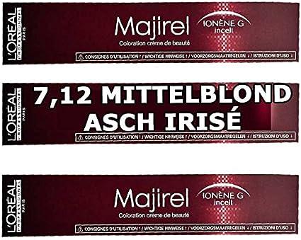 Loreal Majirel 7,12 Tinte para el cabello rubio medio, 3 unidades, 50 ml