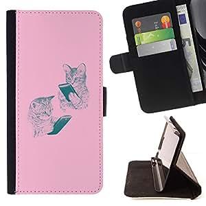 """Gatitos rosados ??lectura Book Dibujo del gato"""" - Modelo colorido cuero de la carpeta del tirón del caso cubierta piel Holster Funda protecció Para Sony Xperia Z5 (5.2 Inch) / Xperia Z5 Dual (Not for Z5 Premium 5.5 Inch)"""