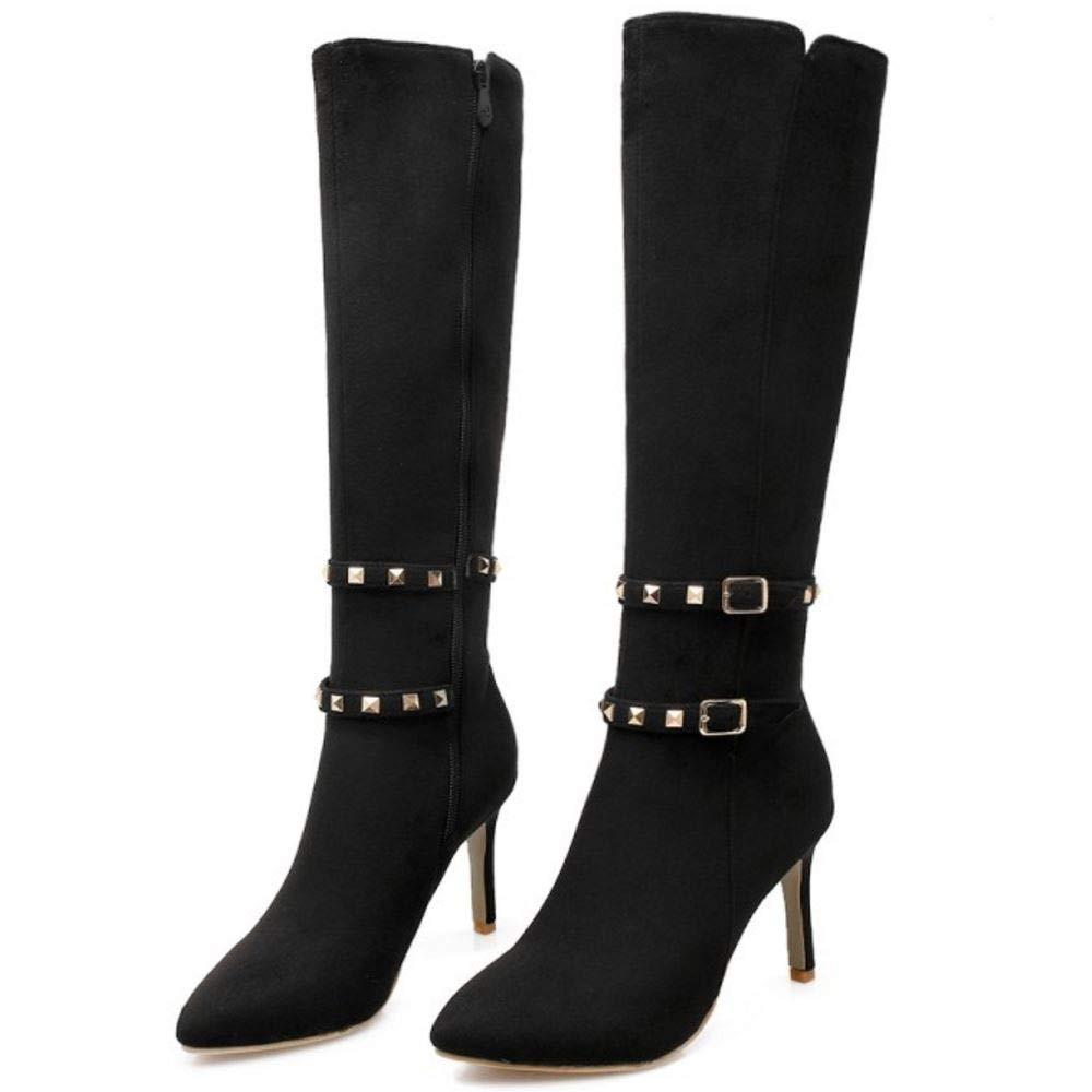 Zanpa Women Fashion Stiletto Boots Zipper Knee Boots
