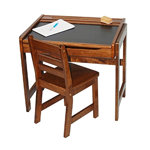 Lipper International Kids Desk with Chalkboard Top & Chair Set in Walnut, Kids Activity Table Set by Lipper International