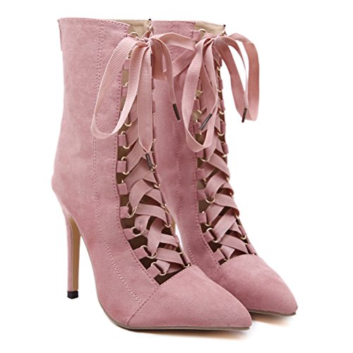 Agodor Womens Stiletto High Heels Lace up Mid Calf Boots With Zip Nubuck Leather Cut Out Elegant Pinted Toe Shoes Pink u4fqDkT