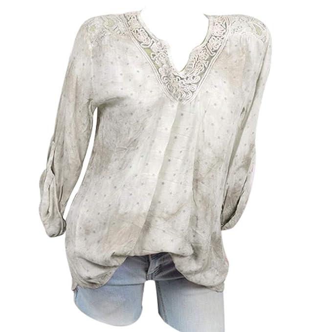 Tops para Mujer LJSGB Blusa de Mujer con Cuello en V de ...
