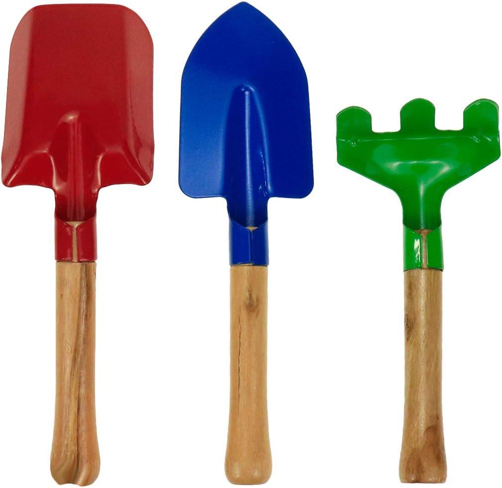 "Bitray Garden Tools 3-Piece Set, 8"" Metal with Sturdy Wooden Handle Safe Gardening Tools Trowel, Rake & Shovel for Children Beach Sandbox Toy"