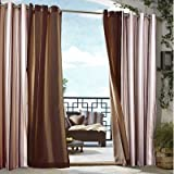 Outdoor decor Gazebo Stripe Indoor Outdoor Window Panels, 50 by 96, Khaki by Outdoor Decor