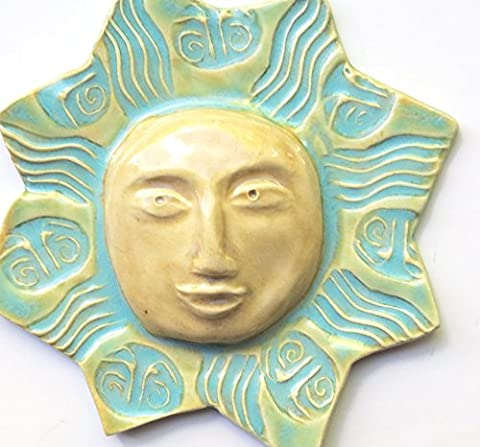 Ceramic Wall Hanging Sun 7 inches with multi glaze -yellow and turquoise glaze