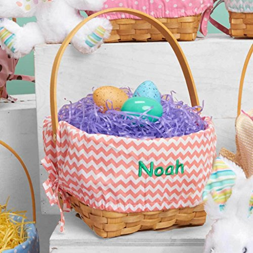 Personalized Woodchip Easter Basket with Custom Designed Liners (Large, Coral Chevron)]()