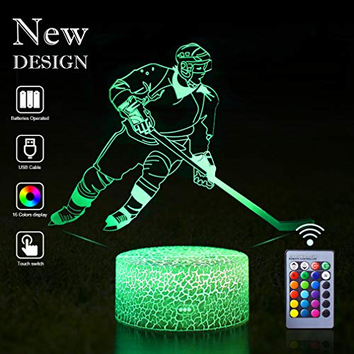 Hockey Night Lights Guidance 3D Mood Optical Illusion LED Lamp Babe Kids Nursery Bedroom Decor Table Standnight Lamps of Bedside Great Bday Party Gifts for Hockey Sports Lovers Boys (Hockey(Remote))]()