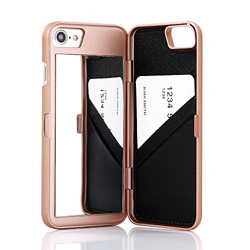 iPhone 7 Case, iPhone 8 Case,Wetben Hidden Back Mirror Wallet Case with Stand Feature and Card Holder for Apple iPhone...  iphone 7 cases with card holder | Top 10 iPhone 7 Wallet Cases – Do you need a full wallet replacement or something on the go? 51DTgubE 2BbL