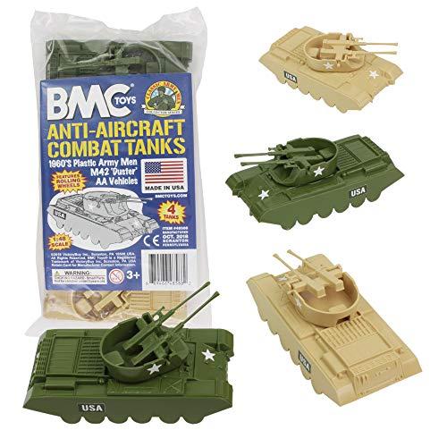 American Army Vehicles - BMC Classic Payton Anti-Aircraft Tanks - 4pc Tan Green Plastic Army Men Vehicles