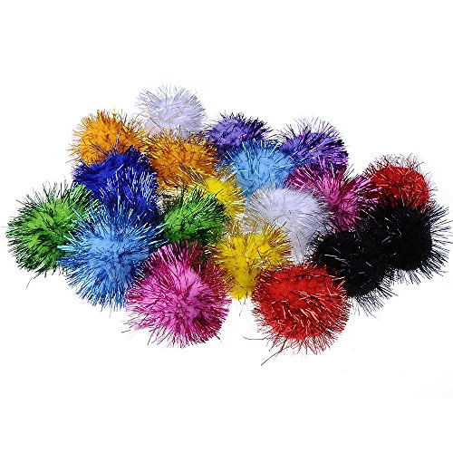 20 Piece Assorted Color Sparkle Balls My Cats All Time Favorite Toy Tinsel Pom Poms Glitter