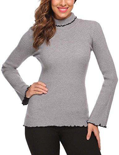 Flare Turtleneck (Zeagoo Women Turtleneck Long Sleeve Slim Fit Ruffles Hem Knit Sweater Grey XL)