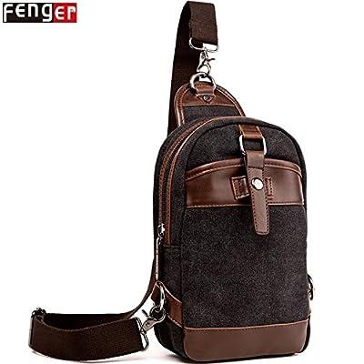 hongrun Men's chest bag sac de loisirs hommes et femmes une toile attachée poitrine pack tendance en Europe et l'Amérique toile rétro en cuir lié à l'ensemble de la paroi thoracique