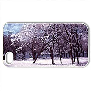 Spring Time - Case Cover for iPhone 4 and 4s (Winter Series, Watercolor style, White)