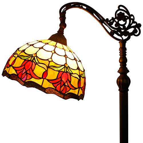 Tiffany Floor Reading Lamp with Tulips Flower W12 H64 inch for Living Room with Resin Base - Tiffany Tulip