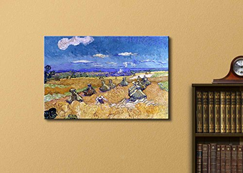 Wheat Fields with Reaper Auvers by Vincent Van Gogh Oil Painting Reproduction