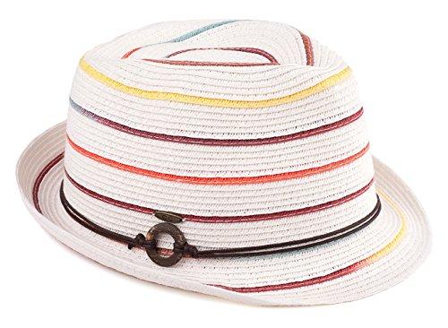 H-6108-32009 Fedora Sun Hat - White w/ Rainbow Stripes
