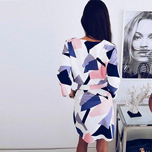 ff2c263f2a82ad ... MCYs Damen Colorblock Geometrie Druck Kleid Party Strand Krawatte Basic  Kleider Minikleid T-Shirt Kleid ...