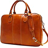 Floto Venezia Slim Olive (Honey) Brown Briefcase Attache Lap-top Case