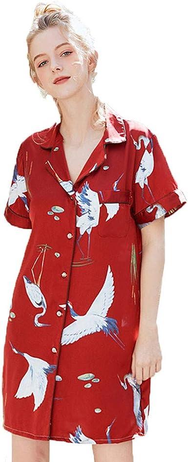 Pijama mujer sexy elegante, camisas de noche para la casa de seda estampada estilo corto de mujer top pijama camisa cárdigan impresión mujer: Amazon.es: Ropa y accesorios