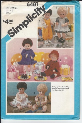 ((VINTAGE) SIMPLICITY DOLL CLOTHES PATTERN 6481 (FROM 1984) - SIZE MEDIUM (15-16
