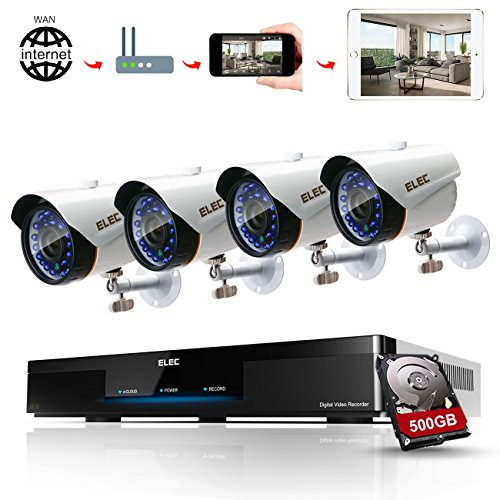ELEC 1080P 8CH CCTV Security System DVR with (4) 1.3MP 2000TVL Indoor Outdoor Weatherproof Security Cameras CCTV Surveillance, 65ft IR LED Night Vision, 500GB Hard Disk Drive