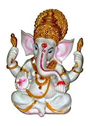 The Blessing. A White & Gold statue of Lord Ganesh Ganpati Elephant Hindu God made from Marble powder