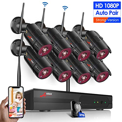 【8CH】 Wireless Security Cameras System, ANRAN 8CH 1080P Surveillance Video Security System with 2TB HDD, 8pcs 2MP Outdoor/Indoor Home Video IP Security Cameras with Night Vision and Easy Remote View