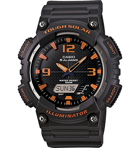 Casio Ana Digi Solar stopwatch, Matte Grey/Orange by Casio