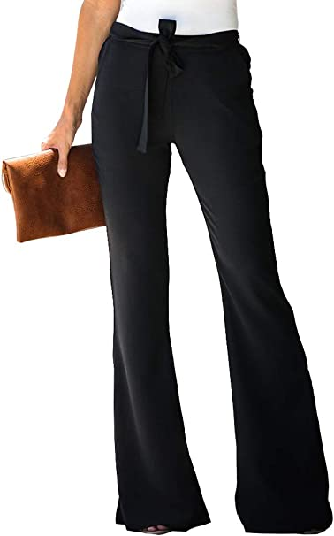 Beautife Womens Palazzo Bell Bottoms Stretch High Waist Casual Solid Yoga Flare Pants with Pockets