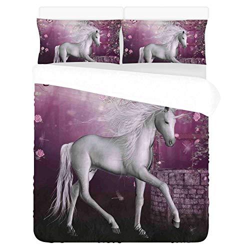 Fantasy Decor Comfortable 3 Piece Bedding Set,Unicorn in Rose Garden Summer Flying Butterflies Romance Fairy Tail Themed Art Decorative for Home,Duvet Cover:86