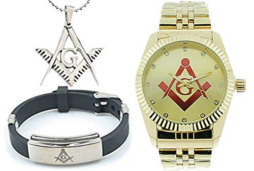 3 Piece Jewelry Set - Freemason Pendant, Bracelet & Masonic Watch on sale. Red Lodge Masonic Logo Compass & Square - Full Gold Color Steel Band / Face. Freemason Watch
