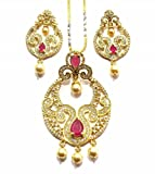Jewelshingar Jewellery Cubic Zirconia Necklace Set For Girls ( 17965-psad-ruby )