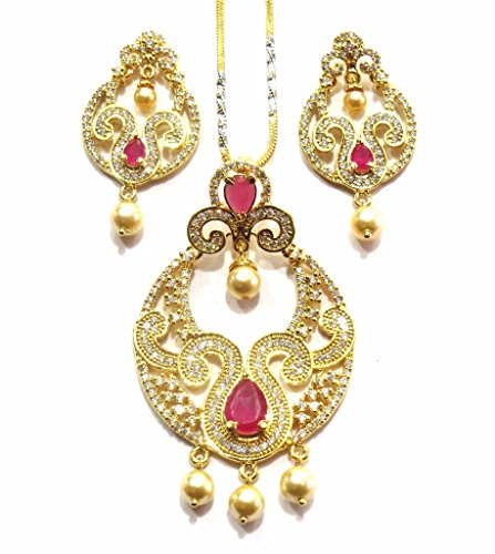 Jewelshingar Jewellery Cubic Zirconia Necklace Set For Girls ( 17965-psad-ruby ) by Jewelshingar