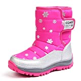 Chiximaxu Kid Waterproof Snow Boots Outdoor Winter Shoes Pink,Little Kid 13M