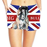 English Bulldog Union Jack Flag Summer Swim Surf Quick Dry Board Shorts Sexy Beach Hot Pants With Pockets For Women