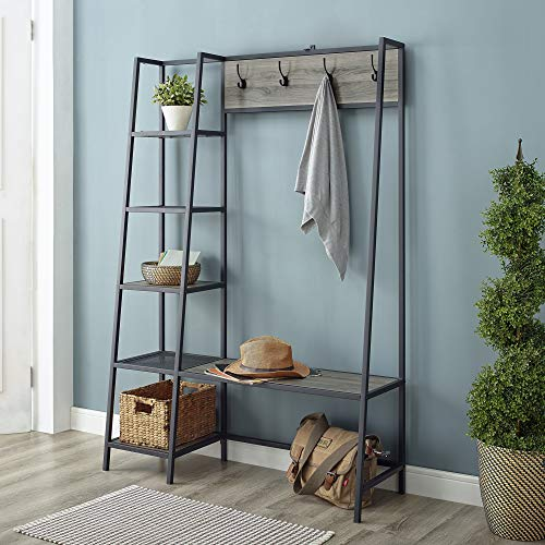 Walker Edison Furniture Company 5 Shelf Entryway Bench Hall Tree Storage Coat Rack, 72 Inch, Slate Grey