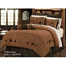 Western Bedding Rustic Lodge Embroidered Star Barbwire 5 Piece Queen
