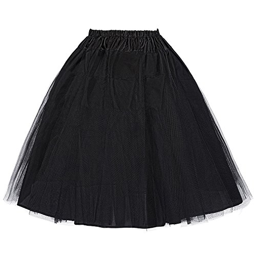 Belle Poque Womens Two Layered Petticoat Underskirt for Wedding Black L (Best Cocktails To Make)