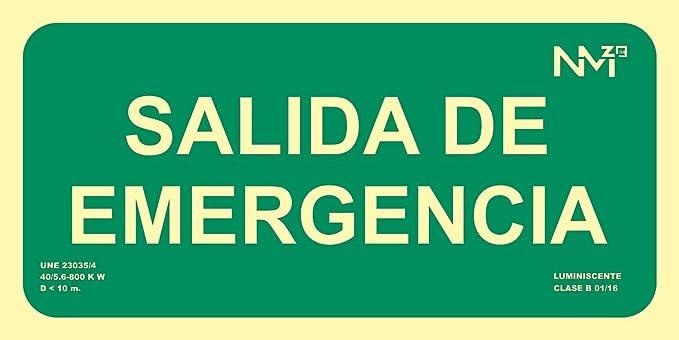 Señal Luminiscente RD13106 Salida De Emergencia 15x30cm ...