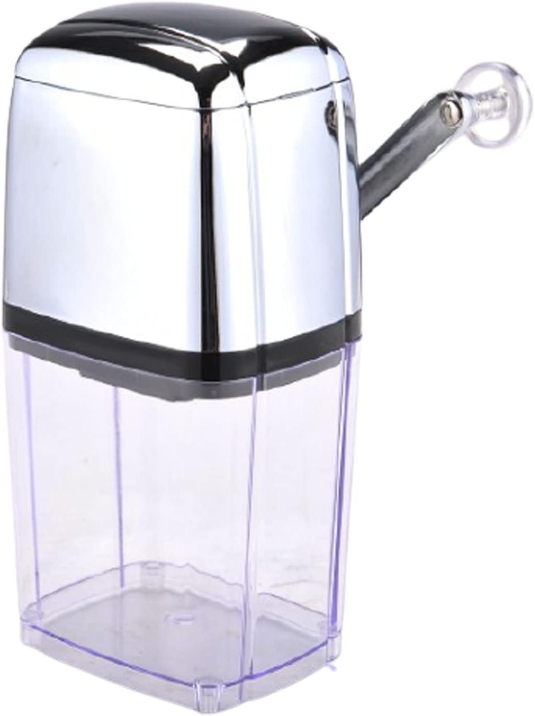 EnweKapu Premium Ice Crusher, Manual Crushed Ice Maschine with Transparent Storage Box, Silver Crushed Ice Maker for Home Bar Kitchen Restaurant