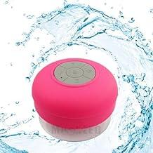 Soundworx Mini Bocina ROSA Resistente al Agua con Bluetooth 3.0, Portable con Manos Libres y Microfono, 6hrs de reproduccion, para telefono, laptop, PC, Tableta y todos los dispositivos con Bluetooth